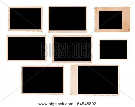 Group of nine vintage photo frames with straight edges