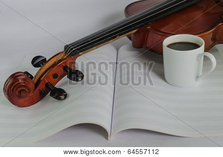 Violin, Blank Notesheet And A Cup Of Coffee