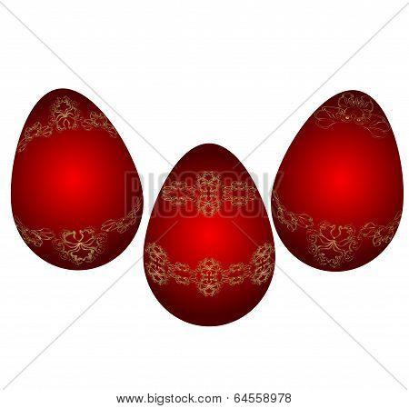 Easter  red eggs. Vector illustration. Victorian ornament on egg