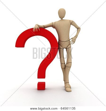 Wooden Man With Question Mark