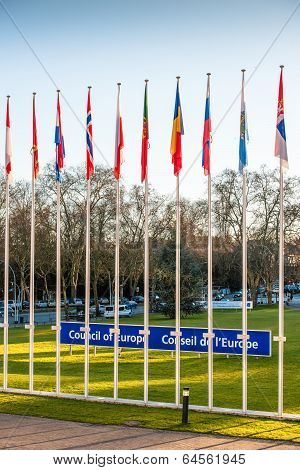 Council Of Europe Sign Beside Member Flags