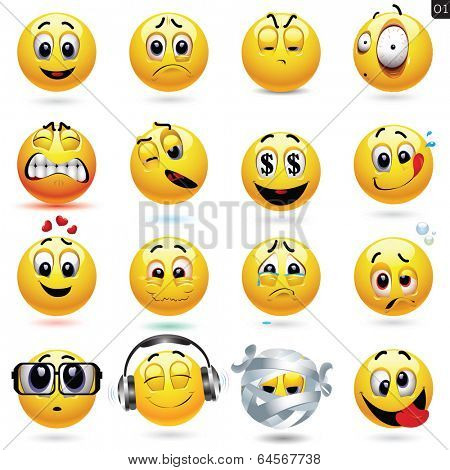 Vector set of smiley icons with different face expression
