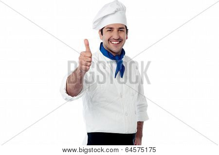 Young Chef Showing Double Thumbs Up