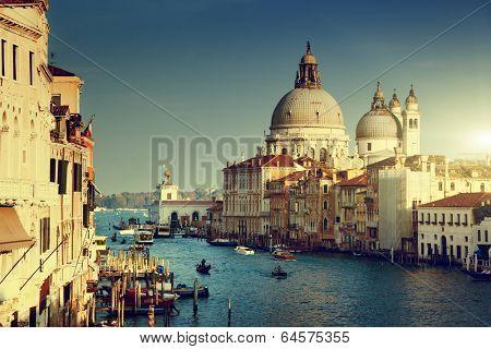 Grand Canal and Basilica Santa Maria della Salute, Venice, Italy  poster