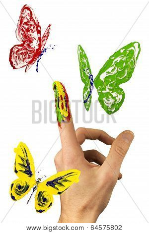 Flock Of Painted Butterflies Flying Around Finger