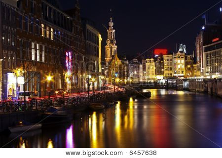 Amsterdam innercity by night in the Netherlands