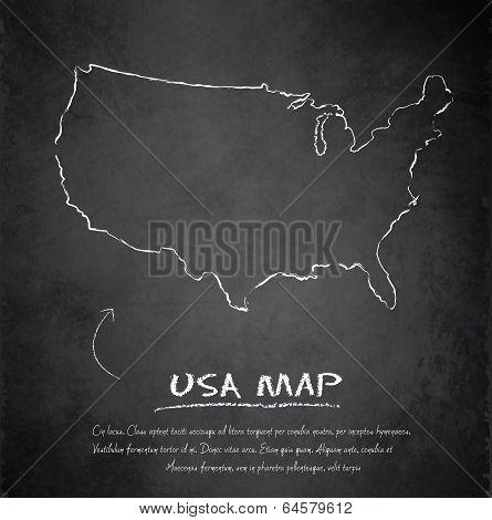 USA map blackboard chalkboard vector