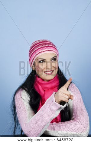 Winter Woman Finger Point