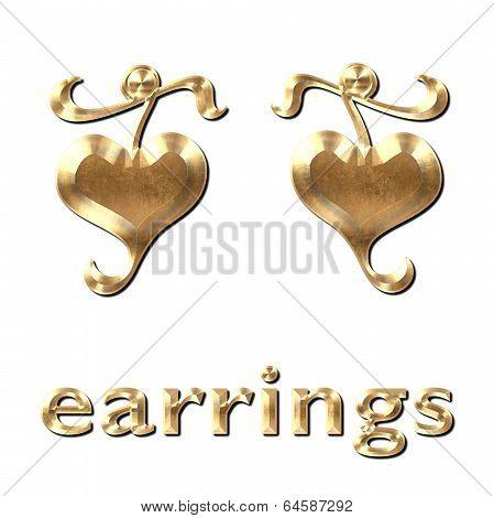Heart Earrings Gold Leaf