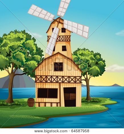 Illustration of a farmhouse with a windmill