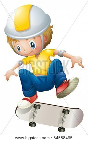 Illustration of a boy playing with the rollerskate on a white background