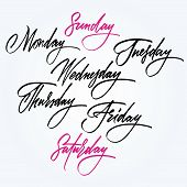 Days of the week. Calligraphy. Weekdays and weekends poster
