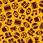 vector seamless pattern with retro cinema icons poster