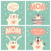 Greeting card for mom with cute animals. Vector illustration. poster