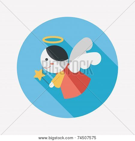 Angel Flat Icon With Long Shadow,eps 10
