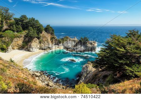 Blue lagoon among rocks, with beautiful falls.