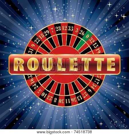 vector red and golden sign with roulette wheel on starry night