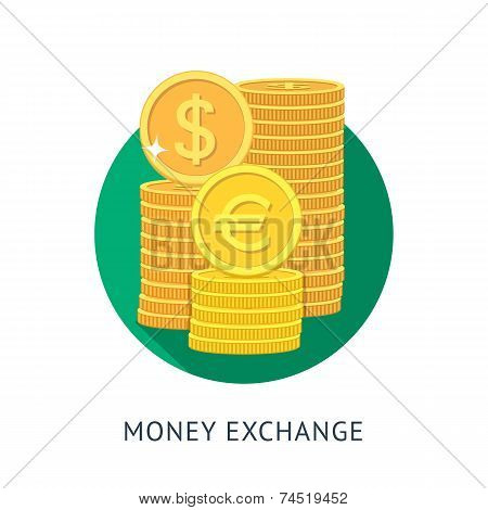 Vector illustration in flat style. Currency exchange icon. Money exchange illustration. poster