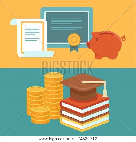 Vector Invest In Education Concept In Flat Style