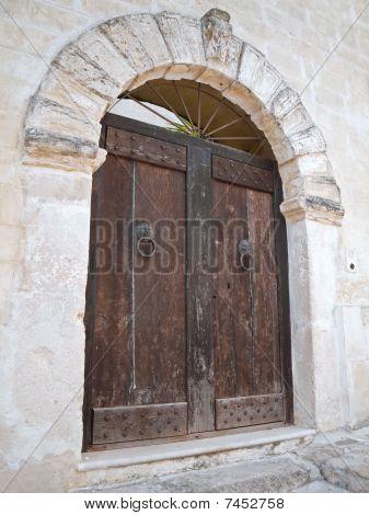 Wooden ancient frontdoor.