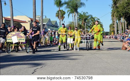 Ninja Turtle Costumes In A Bed Race