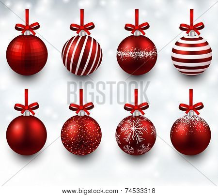 Red christmas balls with gift bows. Realistic decorations. Vector illustration.  poster