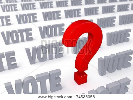 """A large red question mark stands out in a field of gray """"VOTE""""s on white background. Shallow DOF with focus on the question mark. poster"""