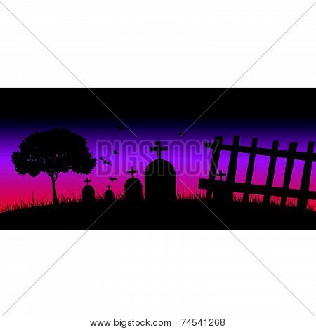 Cementery In The Nature Color Vector