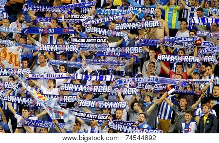 BARCELONA - OCT, 5: Group of supporters of Espanyol during a Spanish League match against Real Sociedad at the Estadi Cornella on October 5, 2014 in Barcelona, Spain