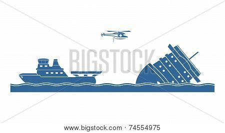 Salvage operation at sea. Silhouettes. Vector illustration. poster