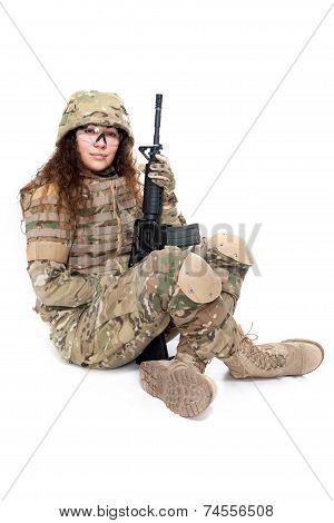 Beautiful Army Girl With Rifle