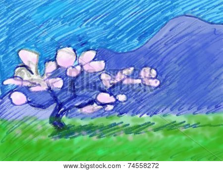 Blossoming almond tree. Almond tree grass and mountains in the spring. Could be California, Spain or Portugal, but is actually a memory from Mallorca. poster