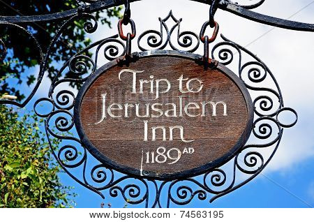 Trip to Jerusalem Inn sign, Nottingham.