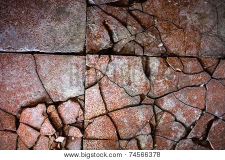 Surface of the old and damaged tiles. poster