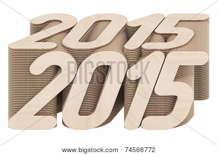 2015 Digits Composed Of Intersected Wood Panels Isolated On White