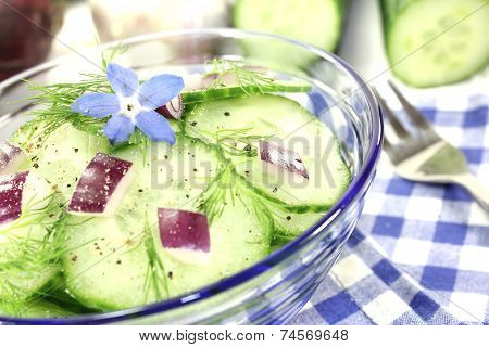 Cucumber Salad With Red Onions And Borage Flower
