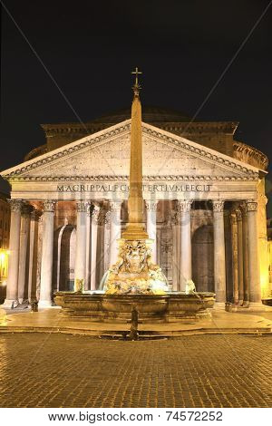 Majestic Pantheon and the Fountain by night on Piazza della Rotonda in Rome, Italy poster