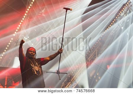 ASSEN, NETHERLANDS - OCTOBER 17, 2014: German Eurodance Act Snap! performs on stage during a 80s and 90s party, hosted by David Hasselhoff.