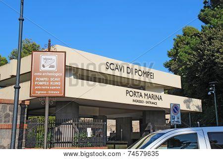 Porta Marina Entrance To The Pompeii Excavations Near Naples, Italy