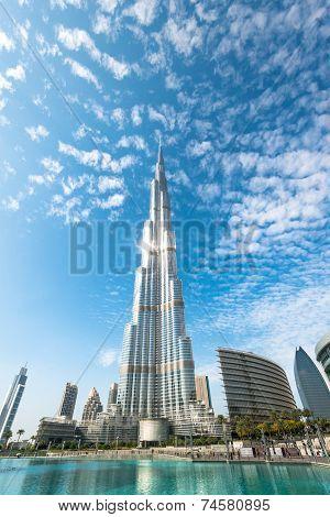 Burj Khalifa Vanishing In Blue Sky In Dubai, Uae.