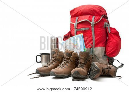 hiking equipment, rucksack and boots. Concept for family hiking