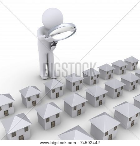 Person Examining Houses