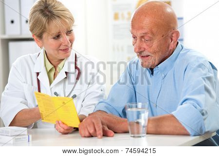 Senior man gets an international certificate of the vaccination from the doctor poster