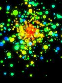 colorful lens flares on dark background.reated in 3D software. poster