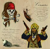 An hand drawn vector pack. Topic: PIRATES - Corsairs. Description: Vector is editable in several layers and group of objects. poster