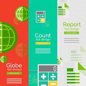 Set of flat design universal business concepts, banners with promo text - globe, count and calculating, report poster