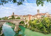 Cividale del Friuli with river and Devils bridge poster