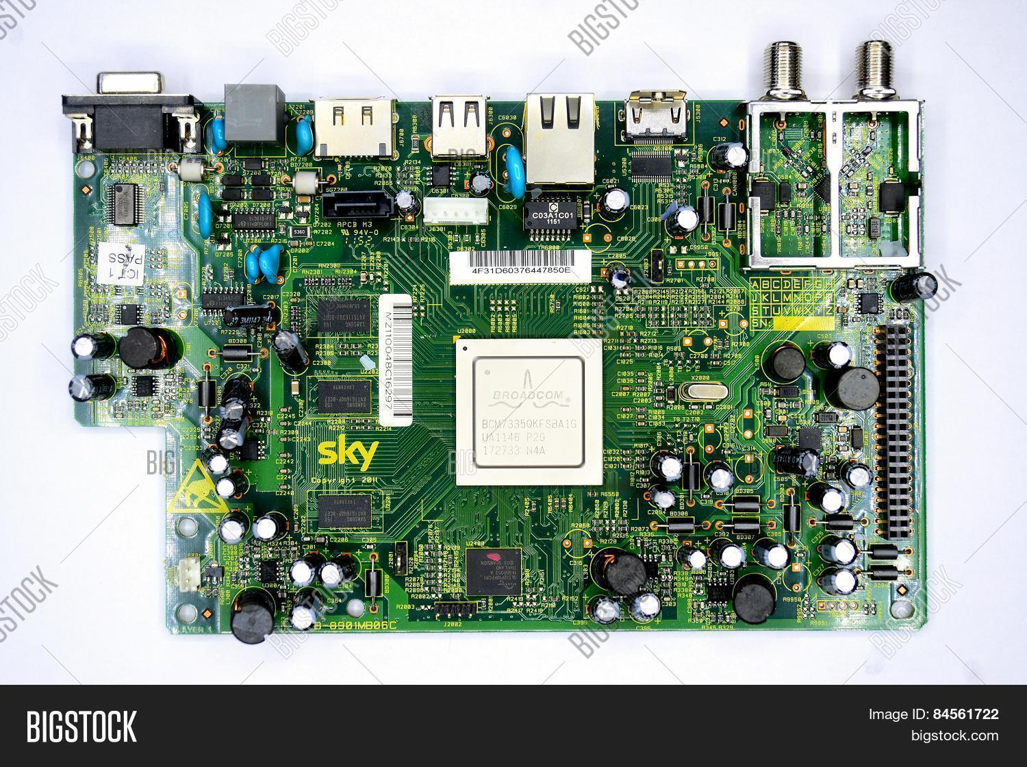 Green Printed Circuit Image Photo Free Trial Bigstock Card Board With Radio Parts