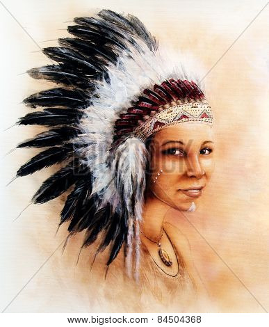 Illustration Painting Young Indian Woman Wearing A Gorgeous Feather Headdress Eye Cont