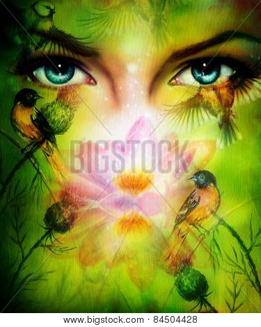 Beautiful Illustration, Blue Goodness Women Eyes Beaming Up Enchanting From Behind A Blooming Rose L